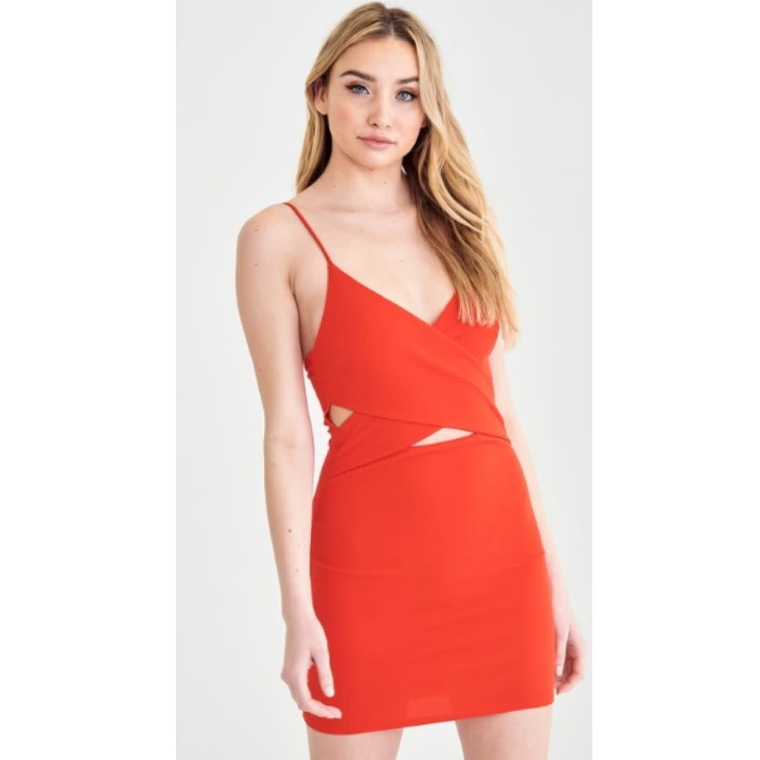 Check It Off Dress - Coral Red