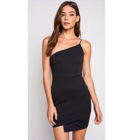 After Work Hours One Shoulder Asymmetrical Mini Dress - Black