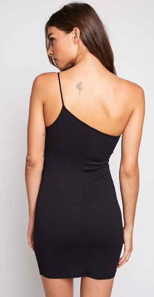 After Work Hours One Shoulder Asymmetrical Mini Dress - Black