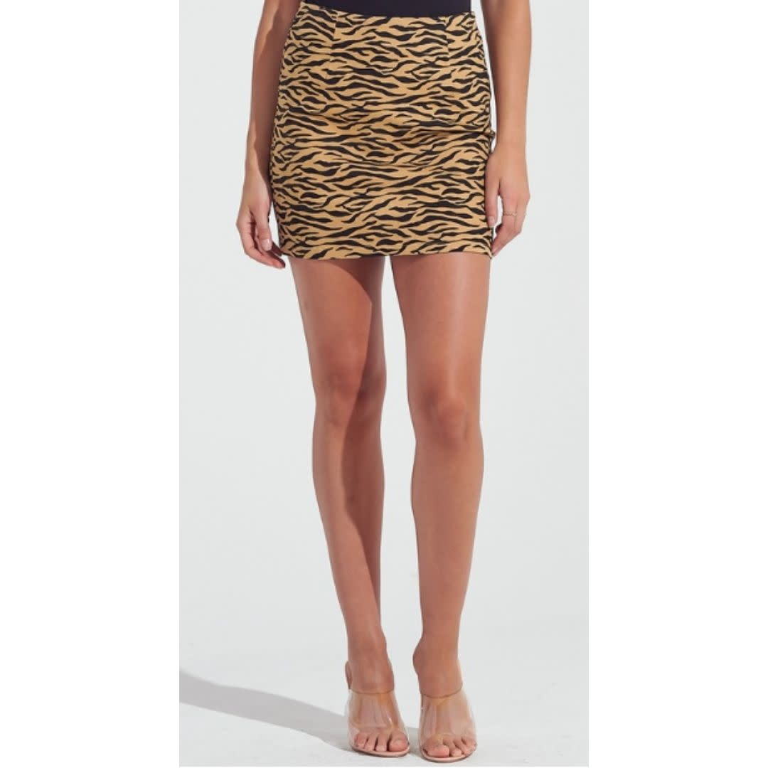 Isn't She Cute Zebra Print Mini Skirt - Camel