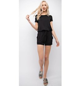 Show The World Back Tie Drawstring Romper - Black