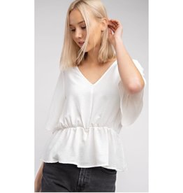 Just Chillax Short Sleeve V-Neck Top - Off White