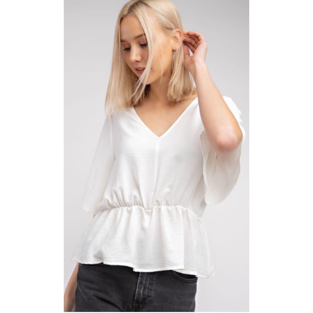 Just Chillax Short Sleeve V-Neck Top - Off White