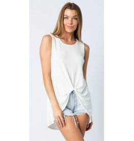 Wander Through Tank Top Knotted Front - Ivory
