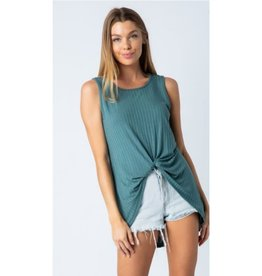 Wander Through Tank Top Knotted Front - Slate