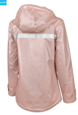 CHARLES RIVER New Englander Rain Jacket W/Print Lining- Rose Gold/Plaid