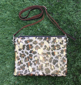 Fit For A Queen Leather Cowhide Crossbody - Cheetah Gold