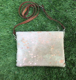 Fit For A Queen Leather Cowhide Crossbody - Rose Gold