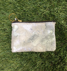 Own It Leather Cowhide Coin Purse - Acid Silver