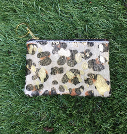 Own It Leather Cowhide Coin Purse - Cheetah Gold