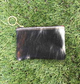 Own It Leather Cowhide Coin Purse - Black & White