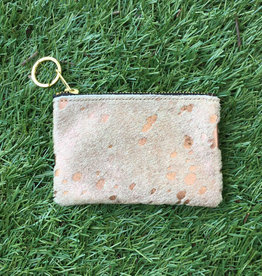 Own It Leather Cowhide Coin Purse - Acid Rose Gold