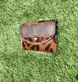 UPCYCLED LV Cowhide Card Holder Wallet- Leopard