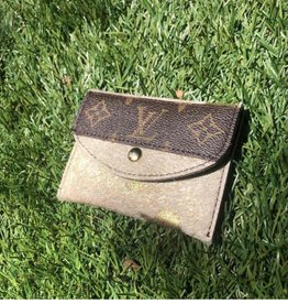 UPCYCLED LV Cowhide Card Holder Wallet- Gold