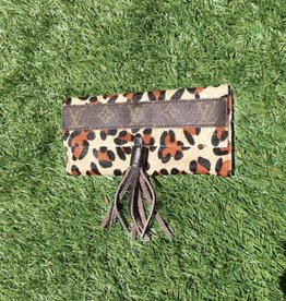 Upcycled LV Among The Stars Trifold Wallet with Tassel - Leopard