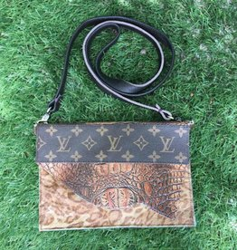 Upcycled LV Nowhere To Go Flapover Crossbody - Croc/Leopard