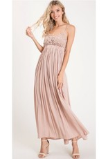 Never Meet The Ground Lace Open Back Maxi Dress - Oatmeal