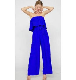 Hard To Forget Tube Top Waist Tie Jumpsuit - Royal
