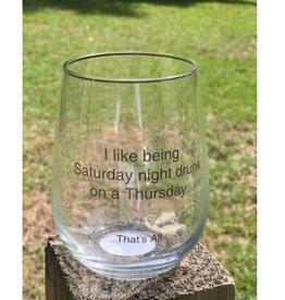 Stemless Wine Glass - Drunk