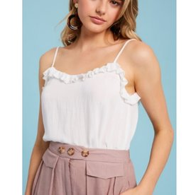 Your Grace Ruffle Neck Camisole Top - Ivory