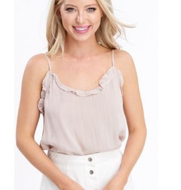 Your Grace Ruffle Neck Camisole Top - Pearl Cream