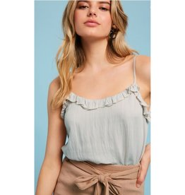 Your Grace Ruffle Neck Camisole Top - Light Gray