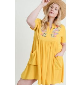 Sky's The Limit Short Sleeve Embroidered Yoke Dress - Yellow