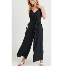 Comfort Zone Soild Wide Leg Jumpsuit - Black