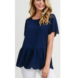The Big Day Soild Top With Scalloped Short Sleeves - Navy