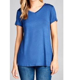 Best Guest Short Sleeve V-neck Top - Washed Blue