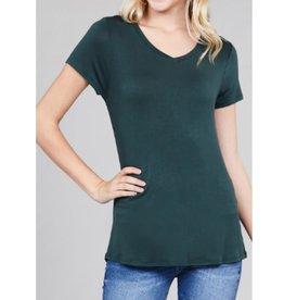 Best Guest Short Sleeve V-neck Top - Dusk Green