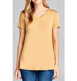Best Guest Short Sleeve V-neck Top - Yellow