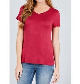 Best Guest Short Sleeve V-neck Top - Merlot Red