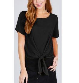 True Beauty Short Sleeve Round Neck Front Tie Top - Black