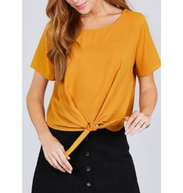 True Beauty Short Sleeve Round Neck Front Tie Top - Mustard