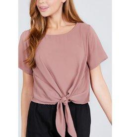 True Beauty Short Sleeve Round Neck Front Tie Top -Pinkish Tan