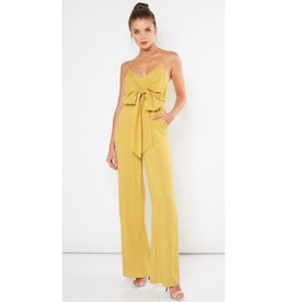 By Request Satin Ribbon Front Tie Jumpsuit - Gold