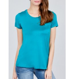 Save Me Now Short Sleeve Scoop Neck W/Pocket Top- Turquoise