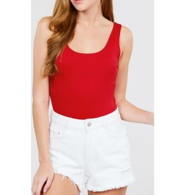Outta My Head Sleevless Bodysuit - Red