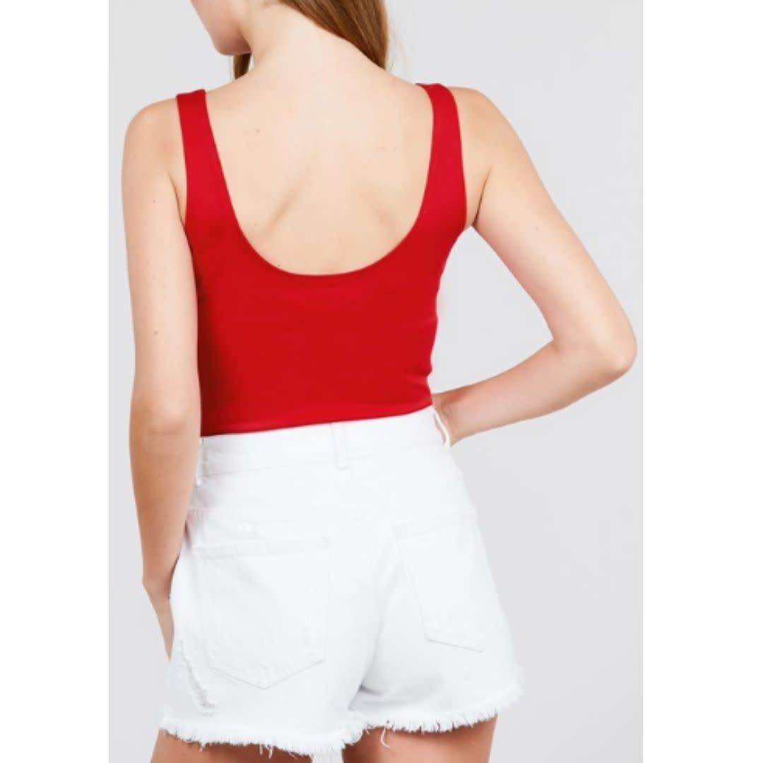 Outta My Head Sleevless Bodysuit - Red