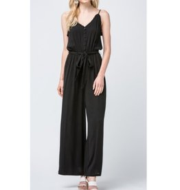 Smile A While Woven Button Up Jumpsuit - Black
