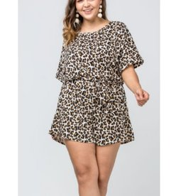 In Another World Leopard Print Boat Neck Romper - Taupe