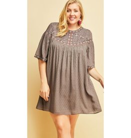 Inner Circle Dotted Embroidered Dress - Charcoal