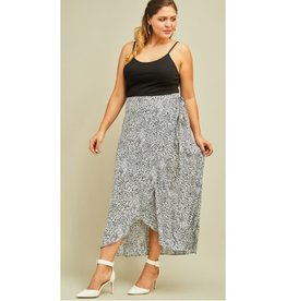 Make It This Far Leopard Wrap Skirt - Grey