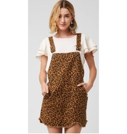 Out Of My Control Overall Leopard Print Dress - Brown