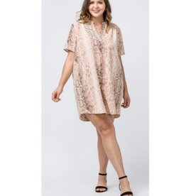 Hidden Hills Reptile Print Shift Dress - Tan