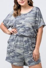 Radiance Camo Print Romper W/Pockets - Grey