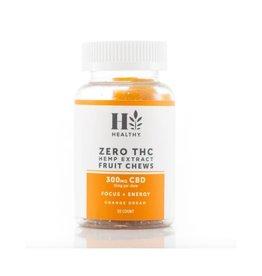Zero THC Hemp Extract Fruit Chews 300 MG CBD - Focus + Energy - Orange Dream