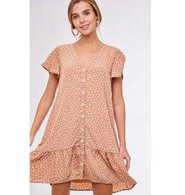 Waiting For Love Button Down Short Ruffled Sleeve Dress - Peach