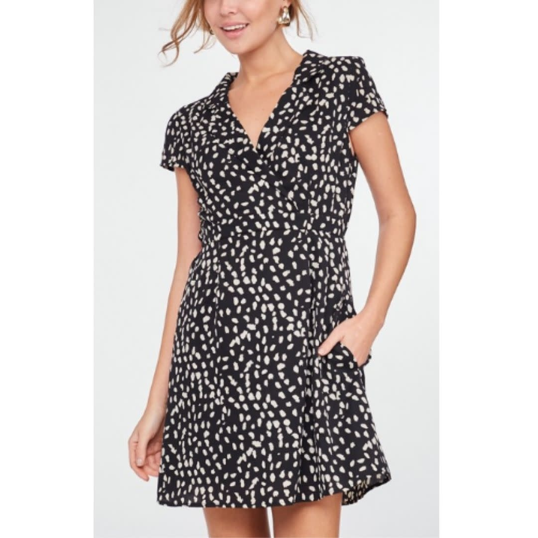 Beyond Reason Animal Print Short Sleeve Dress - Black